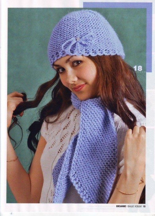 голубая шапка и шарф вязаные.