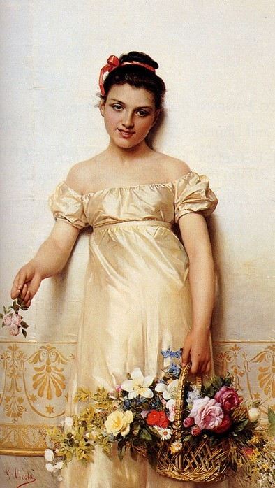 Costa Giovanni - A young lady holding a basket of flowers