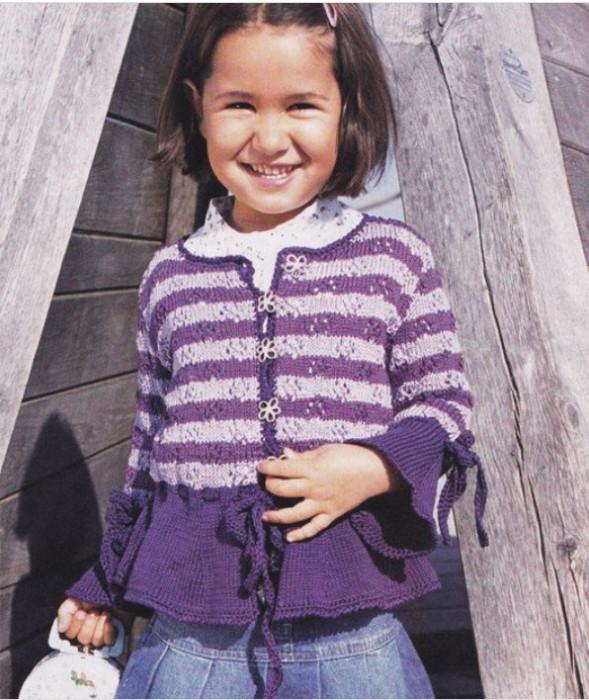 Вязание кофта для девочки в полоску