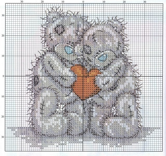 Мишка Тедди - бесплатные схемы для вышивания крестиком.