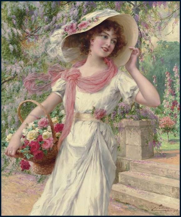 Дама с цветами картинки 8