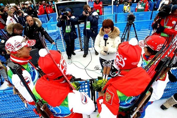 Российские биатлонистки выиграли эстафету, Уистлер, Британская Колумбия, 23 февраля 2010 года.
