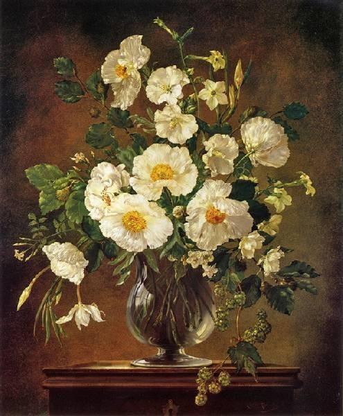 White flowers in glass vase