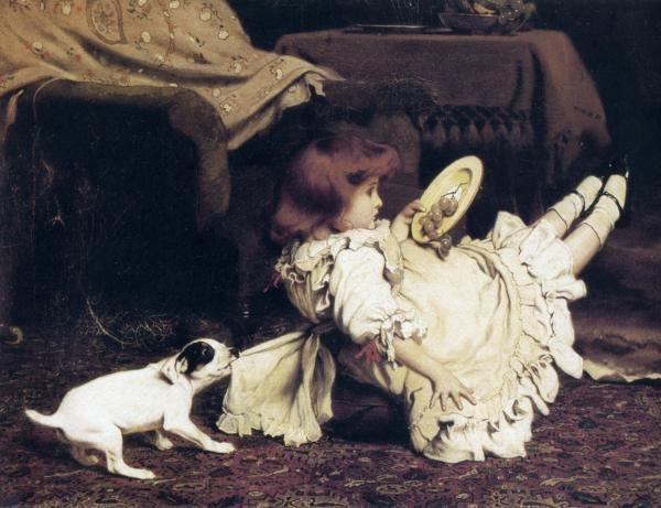 Charles Burton Barber - A Mischievous Puppy