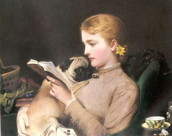 Charles Burton Barber - Victorian Painting - Blond and Brunette Pug - 1879