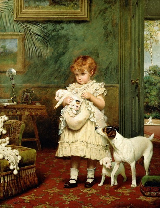 "Charles Burton Barber ""Girl with Dogs"""