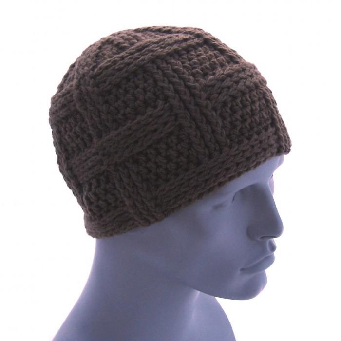 вязаная шапка мужская, Вязание осинка.