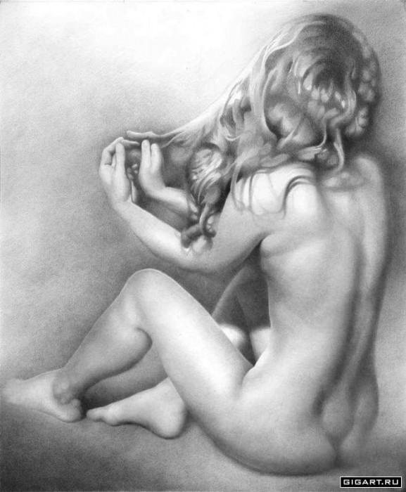 рисунки обнаженных девушек карандашом: