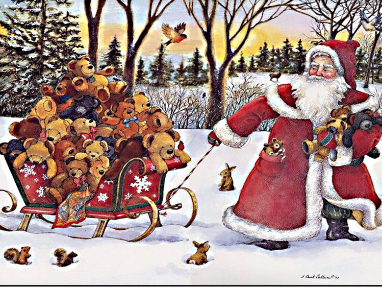 Дед мороз с письмом открытка