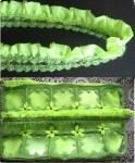 11.     Из подкладочной ткани сделать оборку    12.     Подклад пришить к сумке так, чтобы край сумки был свободен. К краю пришить оборку.