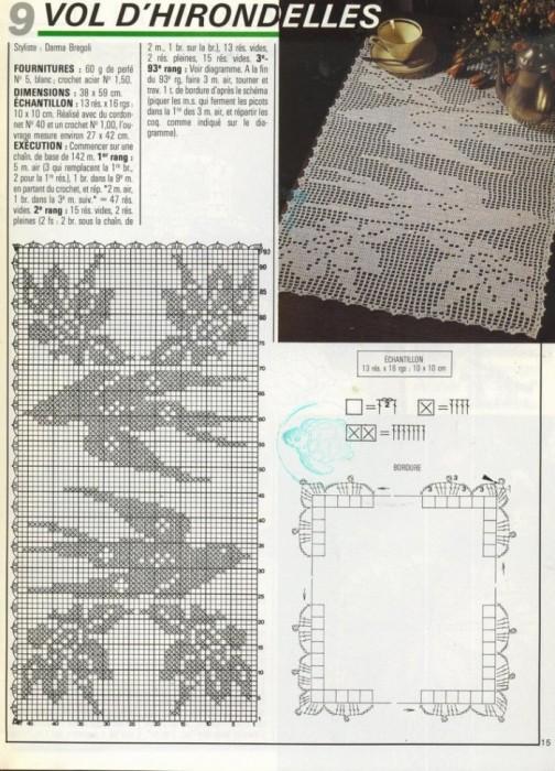 Размещено с помощью приложения Я - фотограф.  Коллекция схем для салфеток-филейное вязание крючком.