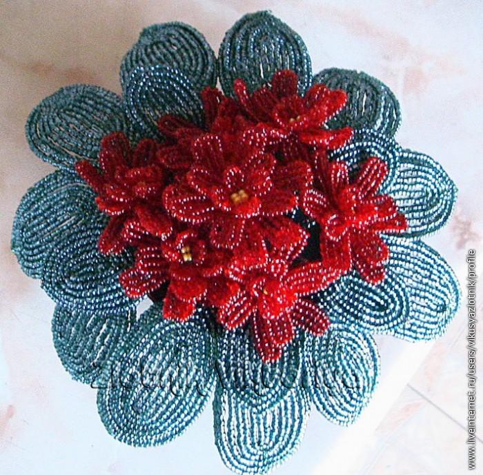 """Фиалка из бисера.  Схема плетения фиалки  """" Бисер.ру. танец моряков видео."""