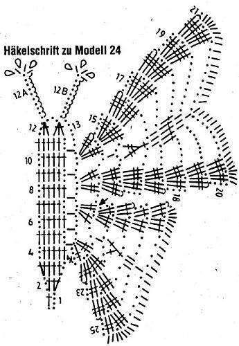 Бабочки вязанные крючком со схемами.
