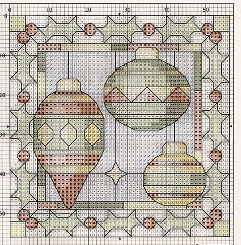 Часть 1. Часть 2. Новый Год - вышивка - миниатюры.  Схемы крестиком = мелочи. схемы вышитых магнитов и...