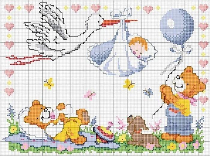 Вышивка крестом схемы ребенка или детей 564
