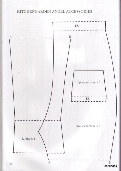 Выкройки брюк для тильды