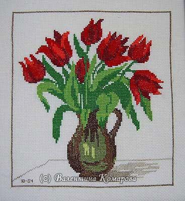 Тюльпаны. Вышивка крестом по