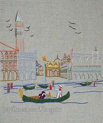 Венеция. Вышивка гладью по