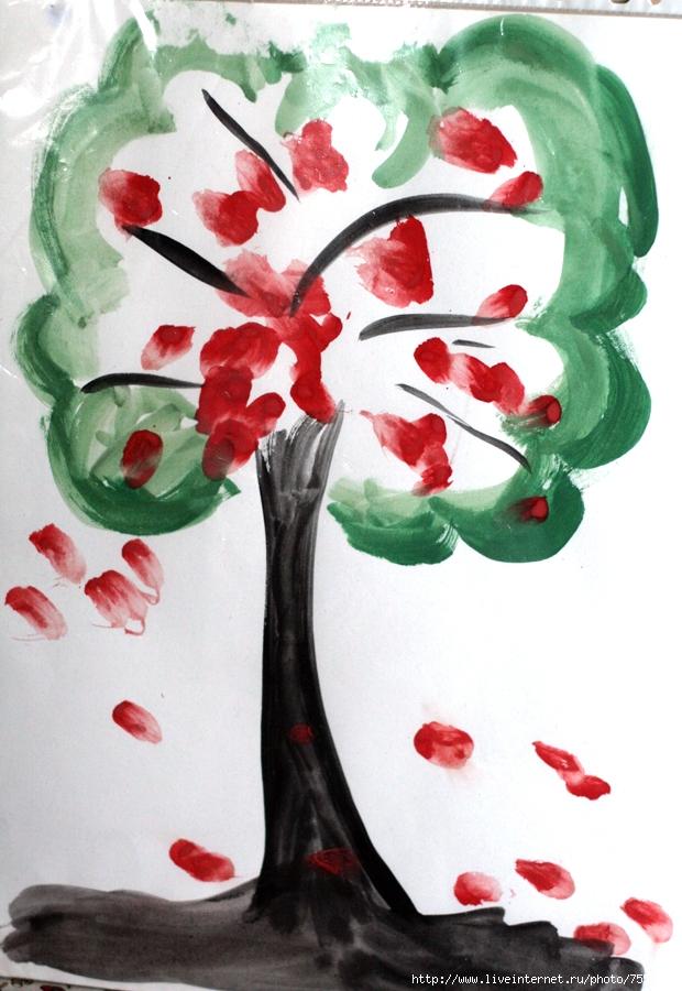 Дерево (контур я, листву и яблоки - пальчиками Тася) .