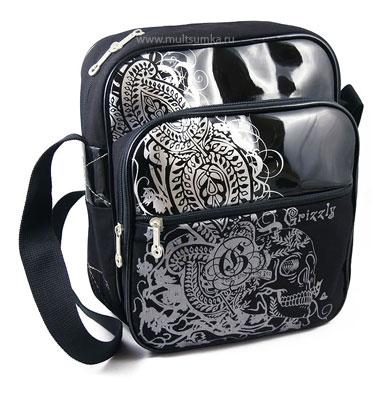 Вертикальная молодежная сумка с большим передним карманом GRIZZLY БК-96 черный/серебро.  Магазин.  Бренд.