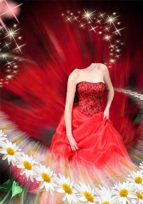 Шаблон для фотошопа - Ромашки с алым цветом PSD / 874 x 1240 / 300 dpi...