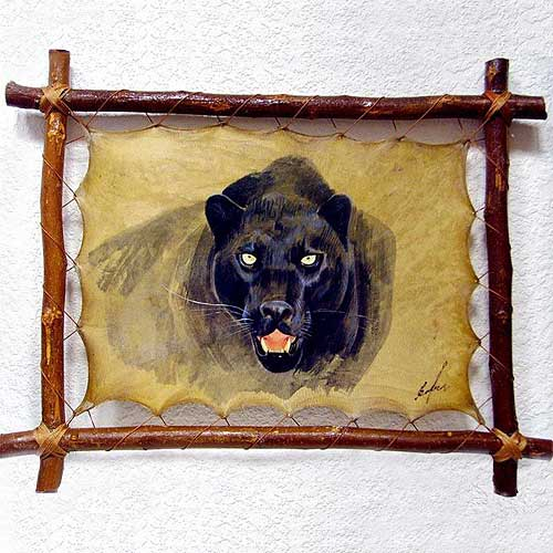 Пантера.  Уникальная картина на натуральной коже, рамка 45 х 36 с.