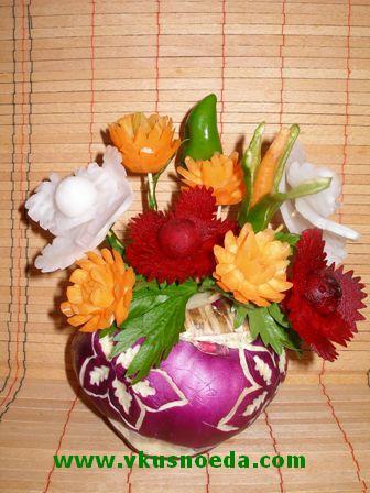 Поделки из овощей и фруктов своими руками цветы 14