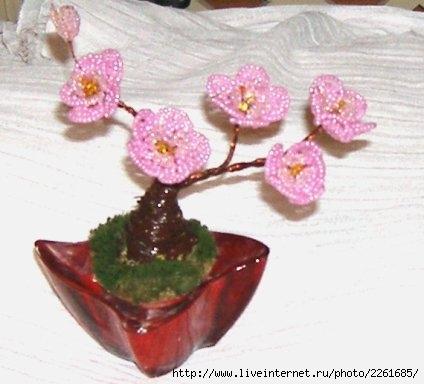 Бонсаи, деревеья из бисера.