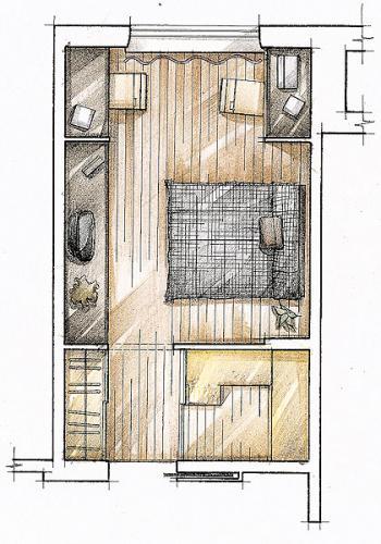 Спальня -14 м2 в доме серии П-ЗМ.