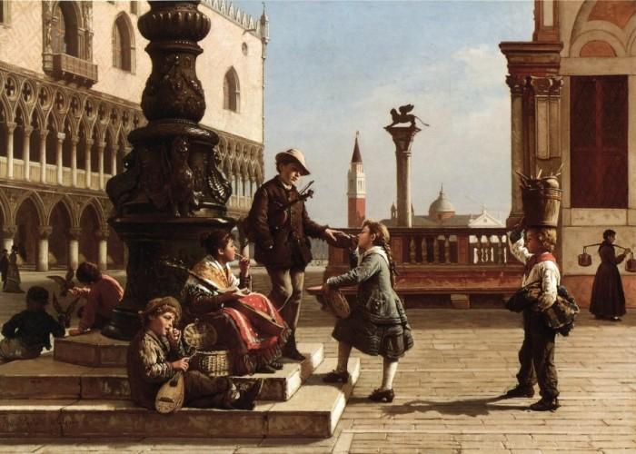 Jeunes musiciens dans la Piazza San Marco, Venise.