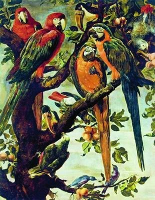 Попугаи в живописи.