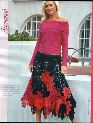 Вязание кленового листа юбка