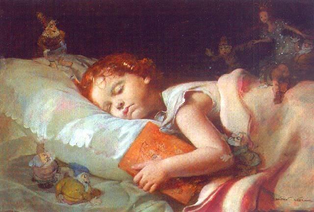 لوحات لاطفال نائمون