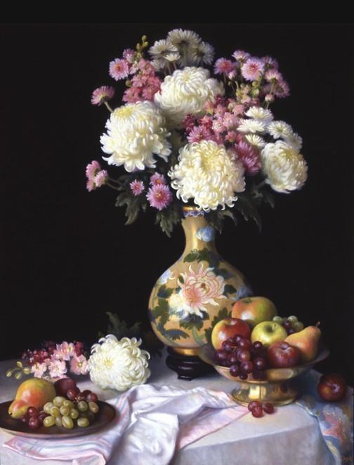 Mums in Oriental Vase