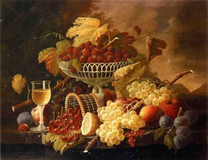 Натюрморт с фруктами и фужером