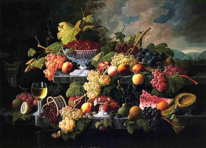 Натюрморт с фруктами и фужером вина