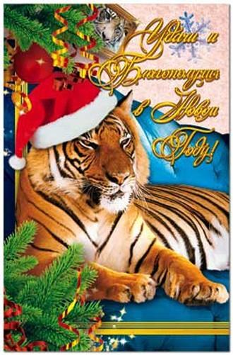 Тигр в новогодней шапке под елкой.