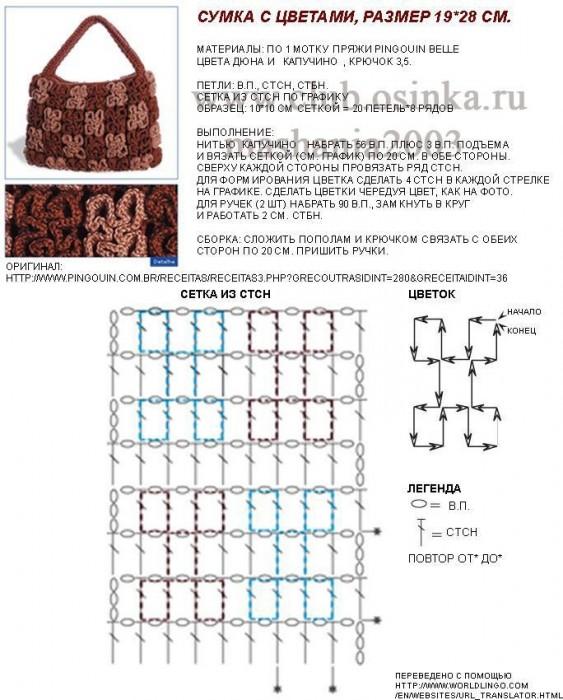 Схемы вязания сумок крючок 984