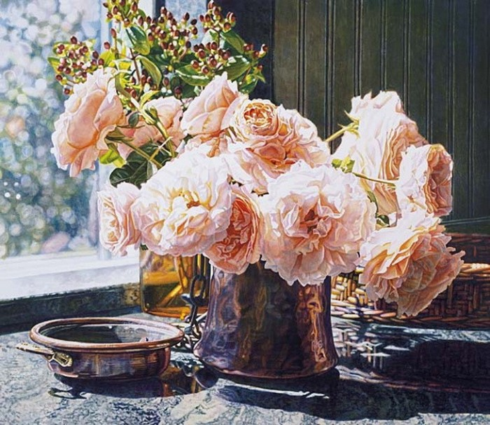 Акварели Eric Christensen цветы и вино