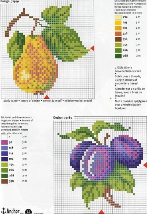 Вышивка крестом схемы фруктов