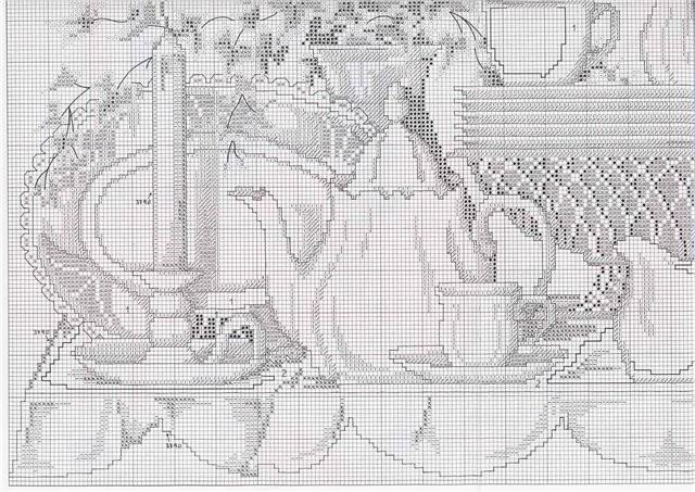 Схема вышивки крестом сервиз
