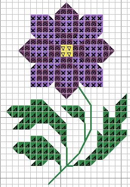 Схемы цветка для вышивки крестом для начинающих