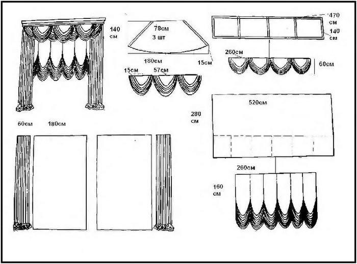 Выкройки ламбрекенов и наиболее сложных элементов драпировок штор.