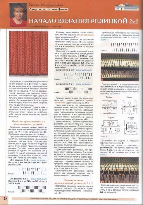 Вязание на машинке резинки