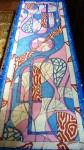 Витражный шарф .Шёлк 145/45см.