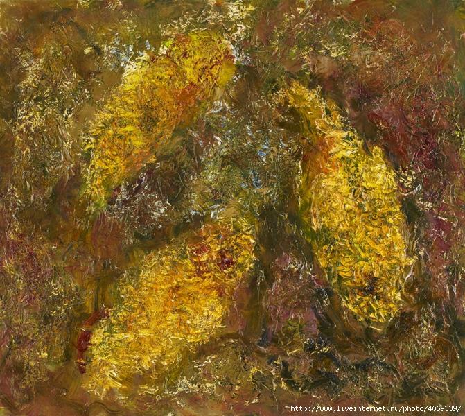 Абстракция картина маслом золотые