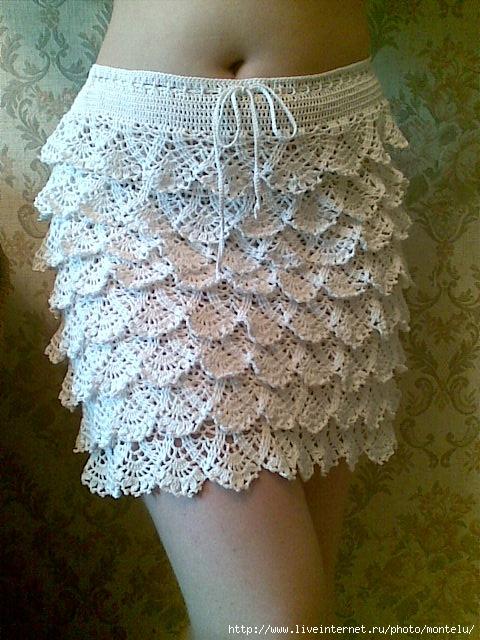 вязание юбок крючком для