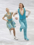 GANGNEUNG, SOUTH KOREA - MARCH 02:  Evgenia Kosigina and Nikolai Moroshkin of Russia compete in the Ice Dance Short Dance on day three of the 2011 World Junior Figure Skating Championships at Gangneung International Ice Rink on March 2, 2011 in Gangneung,