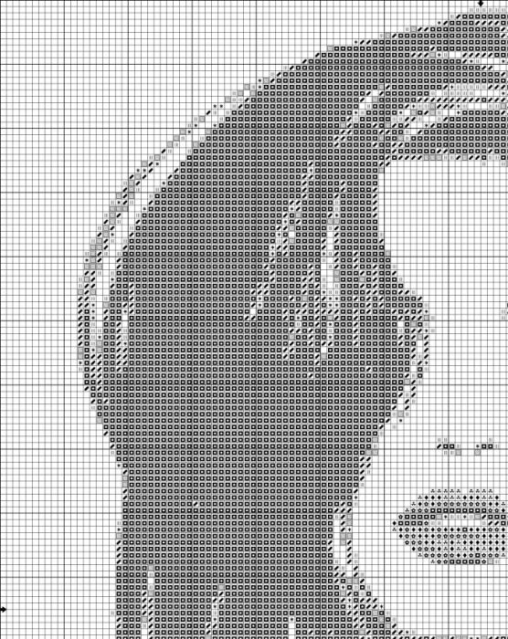 Монохромные схемы вышивок крестом мужчины и женщины