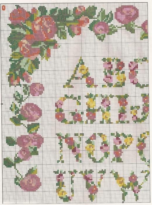 Вышивка крестом цветочный алфавит